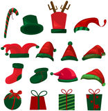 Set of christmas hat and gifts. Illustration of isolated set of christmas hat and gifts on white Stock Image
