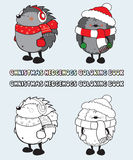 Set of 2 Christmas hedgehogs coloring book illustration Stock Photo