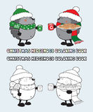 Set of 2 Christmas hedgehogs coloring book illustration Royalty Free Stock Photo
