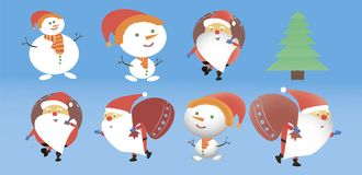 A set of Christmas heroes. Santa Clauses and Snowmen. Vector illustration Royalty Free Stock Image