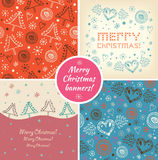 Set of Christmas holiday banners. Collection of xmas decorative elements. Backgrounds, patterns Stock Image