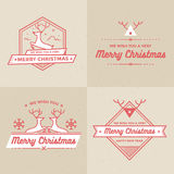 Set of Christmas and Holiday Decoration Badges, banners, Labels Vector Set Royalty Free Stock Photos