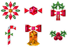Set of christmas or holiday elements made from pre. Vector illustration of set of christmas or holiday elements made from precious stones - bell, berries Stock Photos