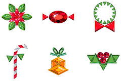 Set of christmas or holiday elements made from pre. Vector illustration of set of christmas or holiday elements made from precious stones - bell, berries Stock Image