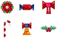 Set of christmas or holiday elements made from pre. Vector illustration of set of christmas or holiday elements made from precious stones - bell, berries Royalty Free Stock Images