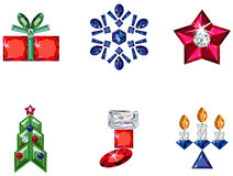 Set of christmas or holiday elements made from pre. Vector illustration of set of christmas / holiday elements made from precious stones - star, snowflake Royalty Free Stock Images