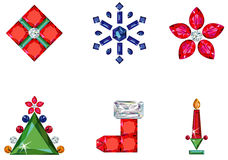 Set of christmas or holiday elements made from pre. Vector illustration of set of christmas / holiday elements made from precious stones - star, snowflake Royalty Free Stock Image