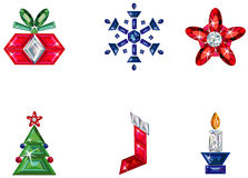 Set of christmas or holiday elements made from pre. Vector illustration of set of christmas / holiday elements made from precious stones - star, snowflake Stock Photos