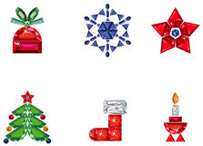Set of christmas or holiday elements made from pre. Vector illustration of set of christmas / holiday elements made from precious stones - star, snowflake Royalty Free Stock Photos