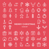 Set of christmas holiday outline thin line icons set Stock Photography
