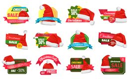 Christmas Holiday Sale Badges Vector Illustration. Set of Christmas holiday sale badges or stickers with Santa Claus hat and lettering on colourful tags vector illustration
