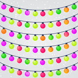 Set of Christmas Holiday String Lights Bulb Royalty Free Stock Images