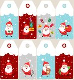 Set of  Christmas holiday tags. With cartoon Santa Claus Stock Photography