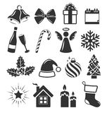 Set of Christmas Holidays Icons Pictograms Flat Black  o Stock Photo