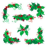 Set of Christmas holly berries design elements. Stock Photo