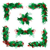 Set of Christmas holly berries design elements. Royalty Free Stock Photos