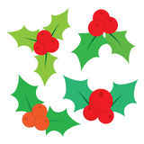 Set of Christmas holly leaves. Vector illustration Stock Photo