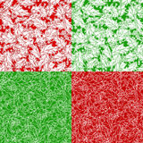 Set of Christmas holly seamless patterns. Holly berries and leaves traditional Christmas decoration. Boundless background can be used for web page backgrounds Royalty Free Stock Images