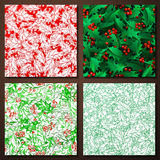 Set of Christmas holly seamless patterns. Holly berries and leaves traditional Christmas decoration. Boundless background can be used for web page backgrounds Stock Photography