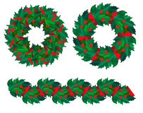 Set of Christmas holly wreaths and garland. Royalty Free Stock Photo