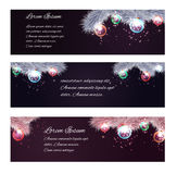 Set of Christmas horizontal banners with fir-tree branches, garlands and place for text Royalty Free Stock Images