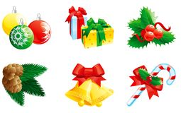 Set of christmas icon. Vector Christmas set of hand bells with bow, baubles, gifts, fir branch with cone, christmas candy cane  and holly decoration Stock Photography