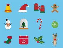 A set of 12 Christmas icon set. Christmas Day Icons Can be used in the advertising business to use. A set of 12 Christmas icon set Royalty Free Stock Photos