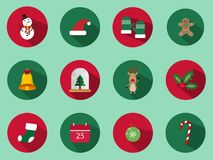A set of 12 Christmas icon set. Christmas Day Icons Can be used in the advertising business to use. stock illustration