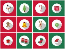 A set of 12 christmas icon set. Christmas Day Icons Can be used in the advertising business to use. A set of 12 christmas icon set Stock Photos
