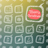 Set of Christmas icon. In the style of Doodle on a beautiful colored background Stock Photos