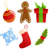 Set of christmas icons. Set of six cute christmas icons Royalty Free Stock Image