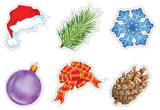 Set of christmas icons. Hat, ball, snowflake bow, cone, hat, pine,  illustration Royalty Free Stock Photography