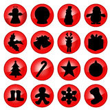 Set of Christmas Icons. Set of Red Christmas Icons stock illustration