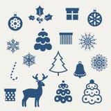 Set of Christmas icons. Set of Christmas icons and silhouettes Stock Photos