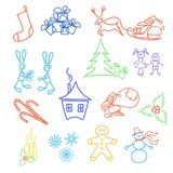 Set of Christmas icons Stock Image