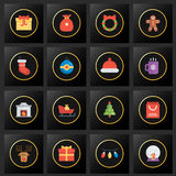 Set of Christmas icons on black and golden Royalty Free Stock Photo