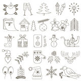 Set of 25 Christmas icons with black stroke Stock Photos