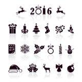 Set of Christmas icons. Set of black Christmas icons  on white background, illustration Stock Image