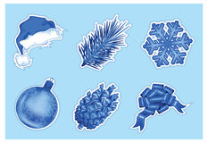 Set of christmas icons in blue Stock Photography