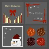Set of Christmas icons - candles, bows, snowman, snowflakes, Christmas balls Stock Photos