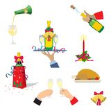 Set of Christmas icons. Champagne,Christmas Turkey, gifts, bell, candle.Cartoon vector illustration royalty free illustration