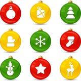 Set of Christmas icons on collor balls. Vector Stock Photos