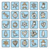 Set of Christmas icons. Of dingerbreads. Vector illustration for your website or packaging design and fabric Stock Image