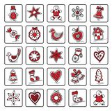 Set of Christmas icons. Of dingerbreads. Vector illustration for your website or packaging design and fabric Royalty Free Stock Photos