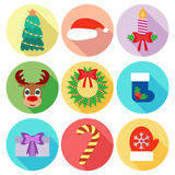 Set of Christmas icons. Flat design.  Stock Image