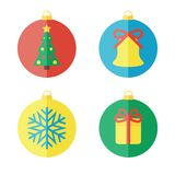 Set of Christmas icons, flat icons Royalty Free Stock Image