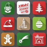 Set of christmas icons in flat style Royalty Free Stock Photos