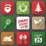 Set of christmas icons in flat style. Simple new year icons with long shadow effect. Qualitative vector (EPS-10) graphics for christmas, new year's day, winter Royalty Free Stock Photo