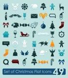 Set of Christmas icons. Set of Christmas flat icons for Web and Mobile Applications Stock Photo