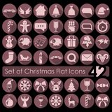 Set of Christmas icons. Set of Christmas flat icons for Web and Mobile Applications Stock Images